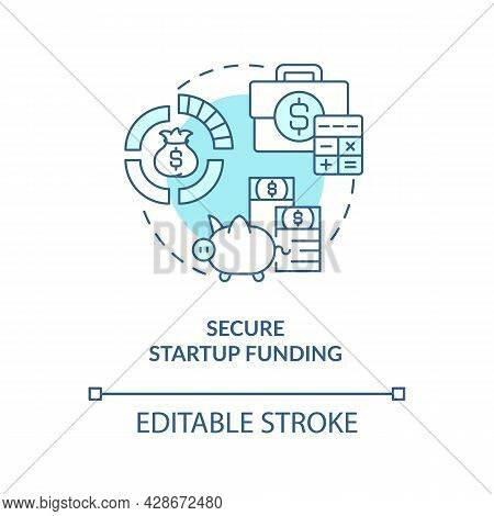 Secure Startup Funding Blue Concept Icon. Find Investment For New Project. Business Finance. Startup