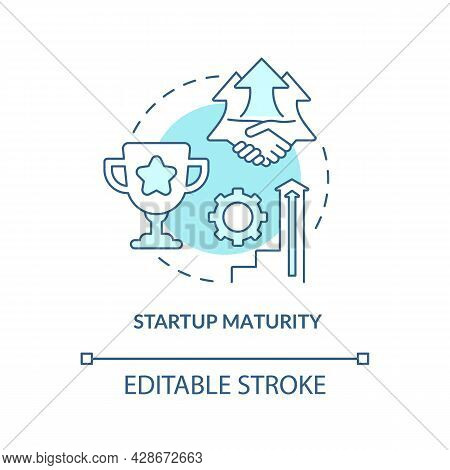 Startup Maturity Blue Concept Icon. Stage Of Company Development. Business Growth. Startup Launch Ab