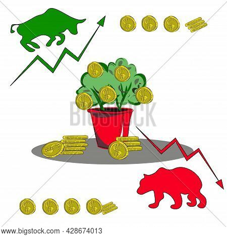 A Set Of Symbols For Trading, Trading Stocks And Bitcoins, Making Money On The Exchange. Bull, Bear,
