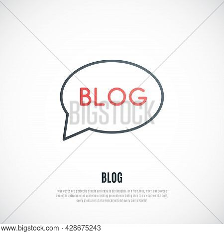 Blog Sign Isolated On White Background. Red Word Blog In A Speech Balloon. Vector Design Template.