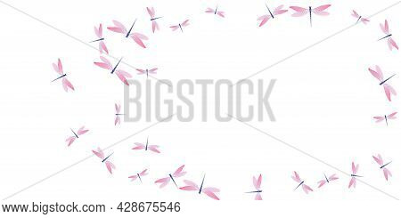 Tropical Rosy Pink Dragonfly Cartoon Vector Wallpaper. Summer Little Insects. Wild Dragonfly Cartoon