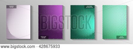 Cool Point Screen Tone Gradation Title Page Templates Vector Batch. School Booklet Faded Screen
