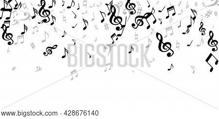 Music Note Icons Vector Backdrop. Melody Notation