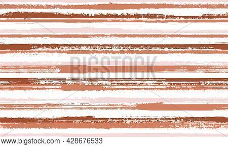 Ink Freehand Irregular Stripes Vector Seamless Pattern. Creative Linen Fabric Print Design. Vintage