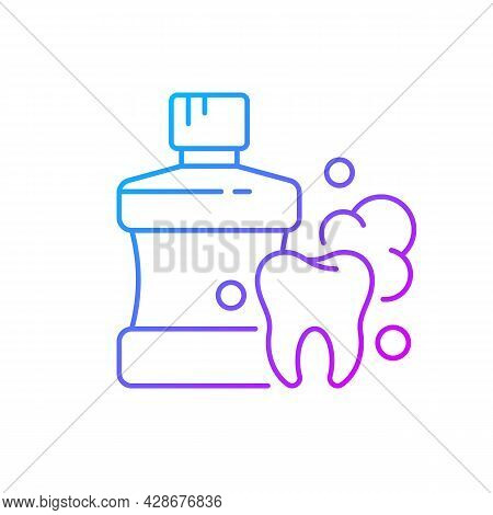 Mouthwash For Teeth Health Gradient Linear Vector Icon. Oral Rinse. Prevent Teeth Decay. Strengthen