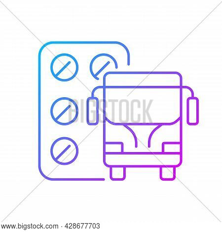 Pills For Motion Sickness Gradient Linear Vector Icon. Nausea, Vomiting Reducing. Preventing Travel