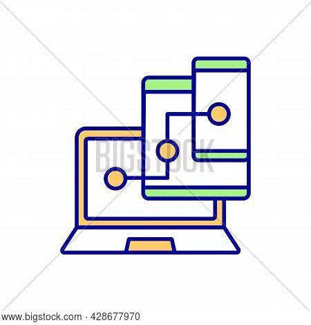 Device Synchronization Rgb Color Icon. Cross Platform Connection. Backup Storage For Digital Data. S