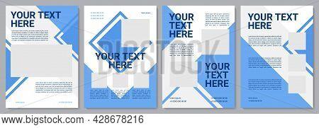 Blue Promotional Brochure Template. Corporate Service. Flyer, Booklet, Leaflet Print, Cover Design W