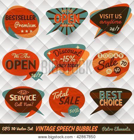 Vintage-Stil Sprechblasen Karten