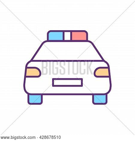 Police Car Rgb Color Icon. Vehicle For Authority Representative. Police Officer Auto. Emergency Case