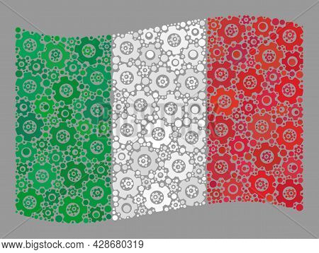 Mosaic Waving Italy Flag Constructed With Wheel Icons. Vector Cog Wheel Collage Waving Italy Flag Cr