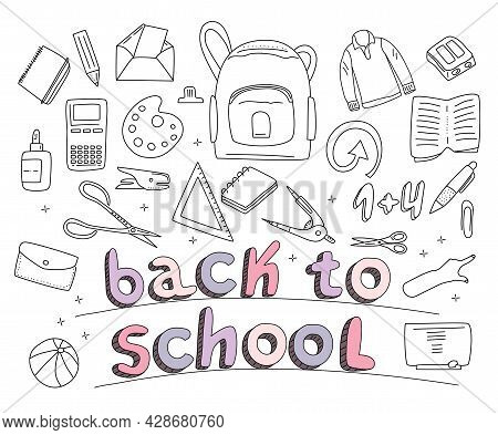 Stationery Set In Doodle Style.back To School Concept With Different Size Diary,open And Closed Note