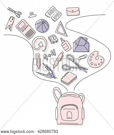 Back To School Concept With Different Size Diary,open,closed Note And Exercise Book.student Routine