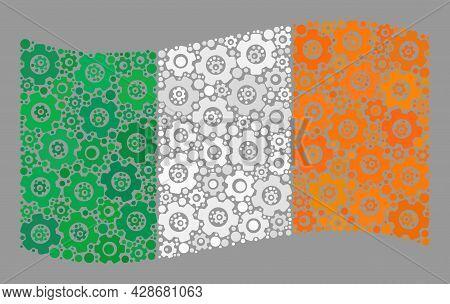 Mosaic Waving Ireland Flag Created With Service Items. Vector Cog Wheel Collage Waving Ireland Flag
