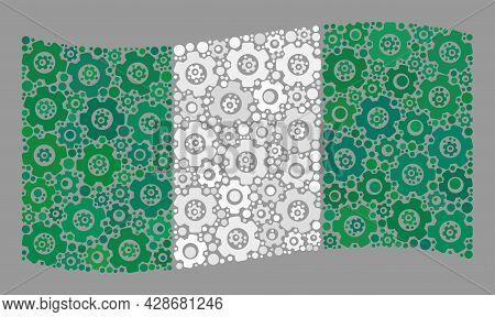 Mosaic Waving Nigeria Flag Designed Of Control Items. Vector Engine Collage Waving Nigeria Flag Orga