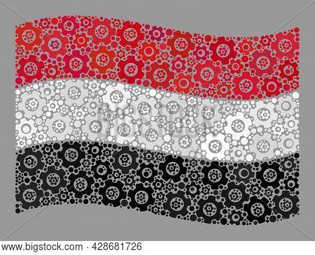 Mosaic Waving Yemen Flag Designed With Mechanical Items. Vector Gear Collage Waving Yemen Flag Desig