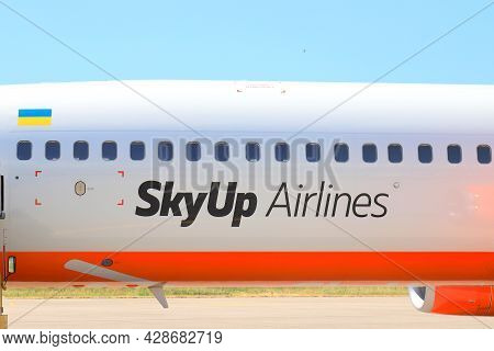 The Logo Of The Ukrainian Low-cost Company Sky Up Is Located On The Airplane Fuselage. The Boeing 73