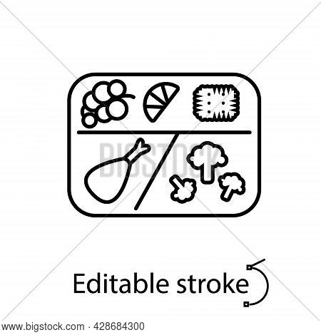 Lunchbox With Chicken And Vegetables Outline Icon. Fruits And Cracker. Editable Stroke. Isolated Vec