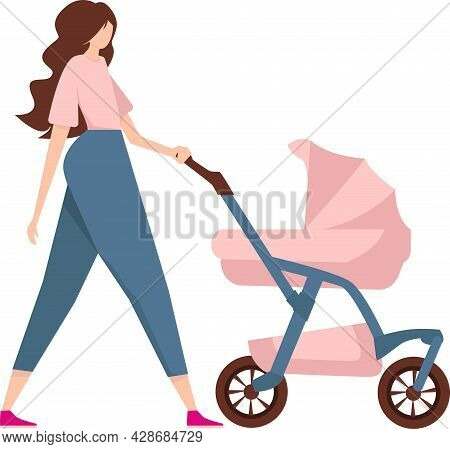 Mom With A Stroller On A Walk