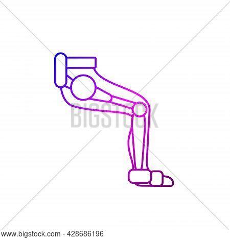Muscular Leg With Exoskeleton Outline Icon. Futuristic Medicine. Rehabilitation Help