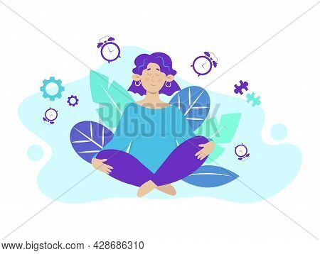 Calm, Self Organized, Meditating Woman. Successful Self Organized Calm Person Concept Illustration.