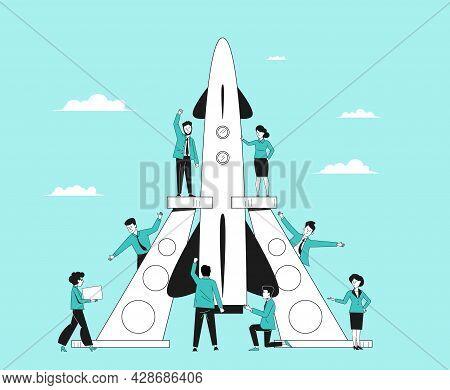 Innovation Teamwork Startup. Company Ideas, Corporate Project Starting. Businessman Beginning Work,