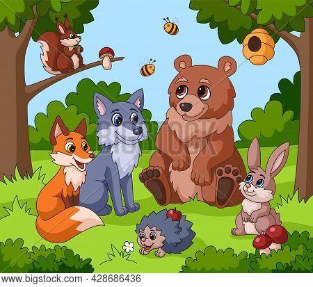 Cute Animal In Forest. Cartoon Animals, Children Drawing Woodland Background. Funny Squirrel, Rabbit