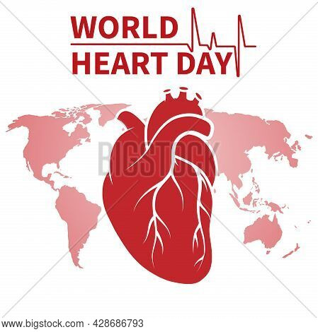 Vector Illustration On The Theme Of The World Heart Day, Celebrated Annually On September 29 Around