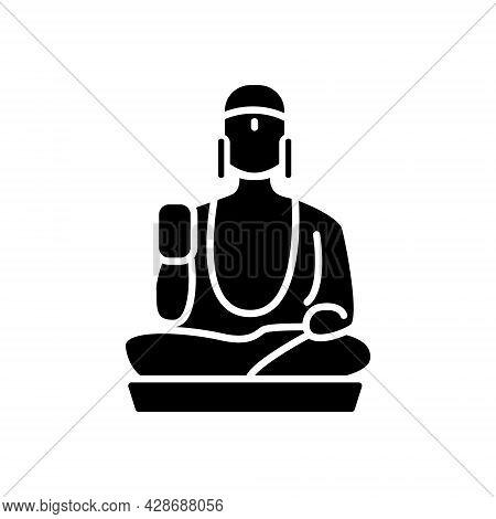 Taiwanese Shan Buddha Museum Glyph Icon. Buddhism Religion. Oriental Custom. Faith Architecture. Bla