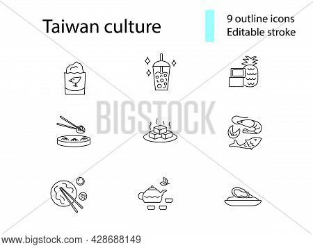 Taiwanese National Food Outline Icons Set. Taiwanese Bubble Milk Tea. Oriental Specialty. Chicken Cu