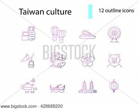 Taiwanese National Customs Outline Icons Set. Taiwanese Seafood, Oyster And Tea. Oriental Specialty.