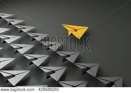 Paper Planes On Aline And One Leading, Isolated On Dark Background, Concept Teamwork, Leadership And