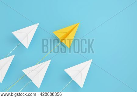 Paper Planes On Aline And One Is Leading, Isolated On Blue Background, Concept Teamwork, Leadership