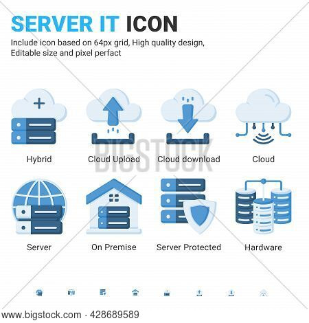 Server It And Technology Icon Set. Editable Size. With Flat Color Style On Isolated White Background