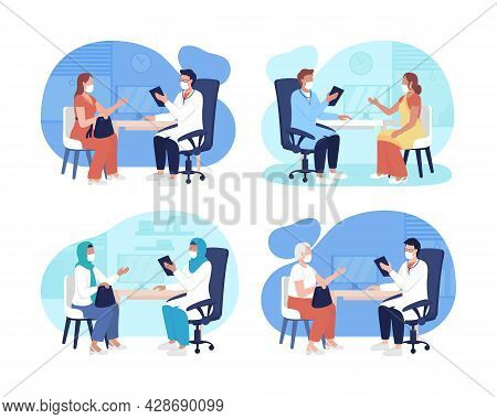 Hospital Visiting During Pandemic 2d Vector Isolated Illustrations Set. Consultation With Physician