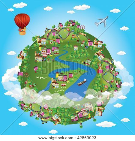 Miniature globe. Vector. Various landscapes like mountain, beach, ocean, town, city, woods and also transports and communications.