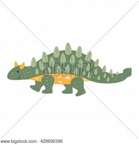 Dinosaur Ankylosaurus Cartoon Illustration. An Isolated Object On A White Background. An Animal Of T