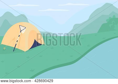 Riverside Campground Flat Color Vector Illustration. Camp Journey To Lake. Peaceful Pastime For Fami