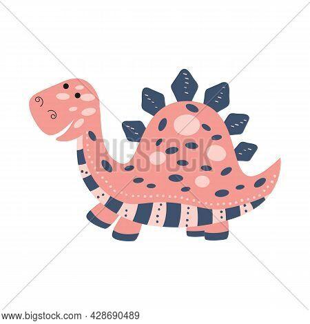 Illustration Dinosaur Stegosaurus In The Style Of A Cartoon. An Isolated Object On A White Backgroun