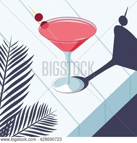 Alcoholic Cocktail, Cosmopolitan Martini Style Midcentury. Vector Image