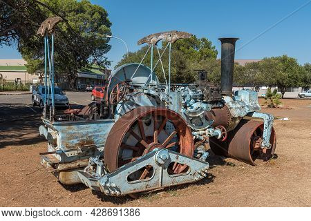 Aliwal North, South Africa - April 23, 2021: Historic Steam Powered Roller At The Church Square Muse