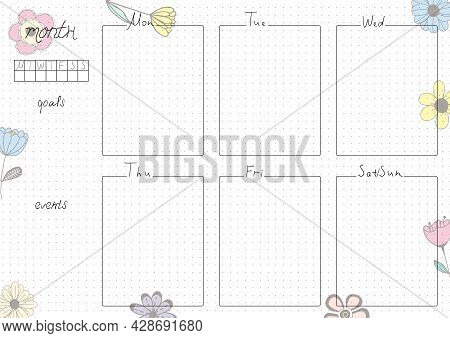 Printable A4 Paper Sheet, Bullet Journal Page With Hand Drawn Flowers And Blank Week Planner, Goals,