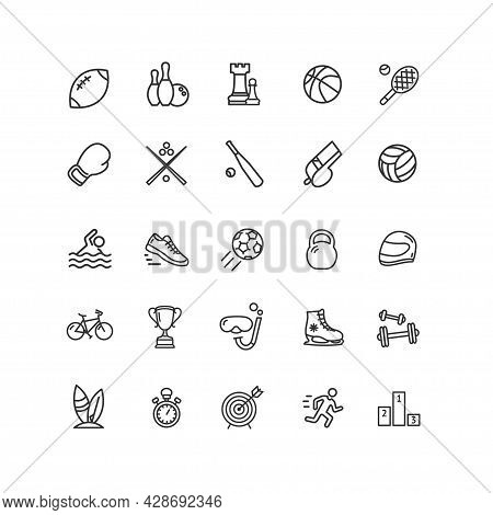 Sport Sign Thin Line Icon Set Include Of Running, Stopwatch And Bicycle . Vector Illustration Of Fit