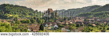 Panorama of Biertan fortified saxon church, Unesco World Heritage site, in Biertan village, Transylvania, Romania, Europe. Romania travel destination
