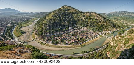 Panorama of the historic city of Berat in Albania. UNESCO World Heritage Site, top view from the castle.