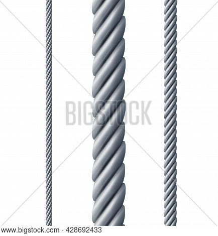 Realistic Detailed 3d Different Twisted Steel Rope Set. Vector Illustration Of Thick And Thin Metal