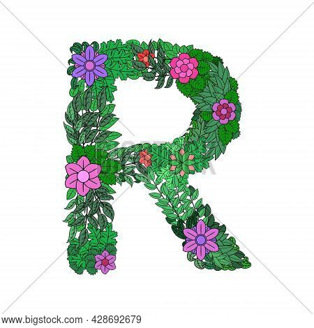 The Letter R - Bright Element Of The Colorful Floral Alphabet On A White Background. Made From Flowe