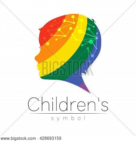Child Vector Color Logo Of Grow Up Kids.silhouette Profile Human Head. Concept Logo For People, Chil