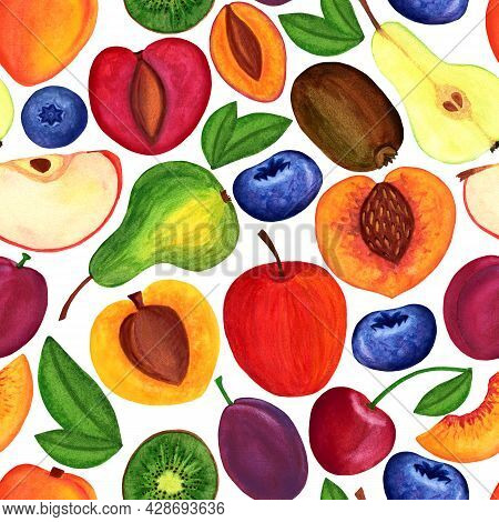 Garden Fruit Seamless Pattern. Watercolor Painted Thick Pattern With Drupe, Kiwi, Berry Isolated On