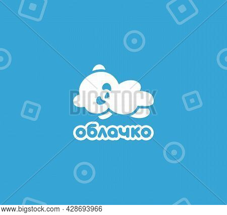 Vector Logo With A Panda In The Form Of A Cloud. Polar Bear. The Inscription In Russian